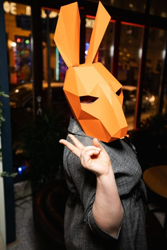 Полигональная маска зайца
