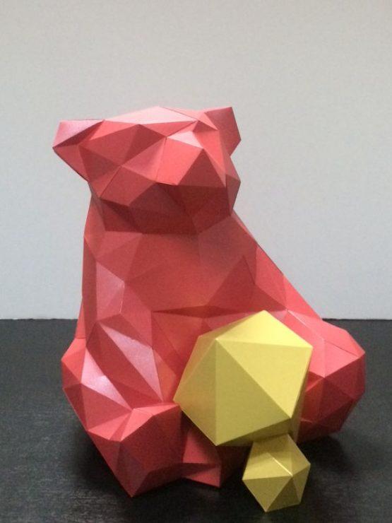 Полигональная фигура медведя