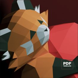 Red Panda on the heart papercraft