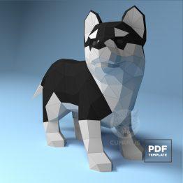 husky puppy papercraft